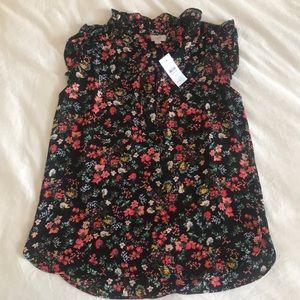 Loft black floral blouse